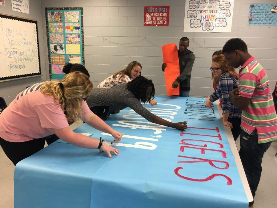 CHHS sophomores work on their Operation-themed Homecoming float.