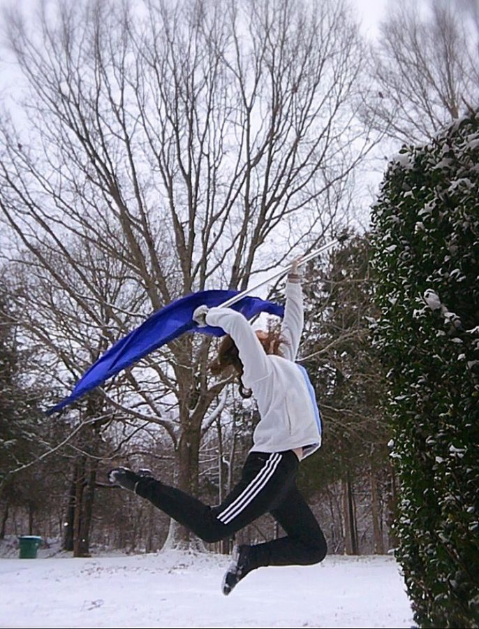CHHS senior Jaci Kimble took advantage of the snow day Jan. 12 to practice her routine for Indoor Winds.