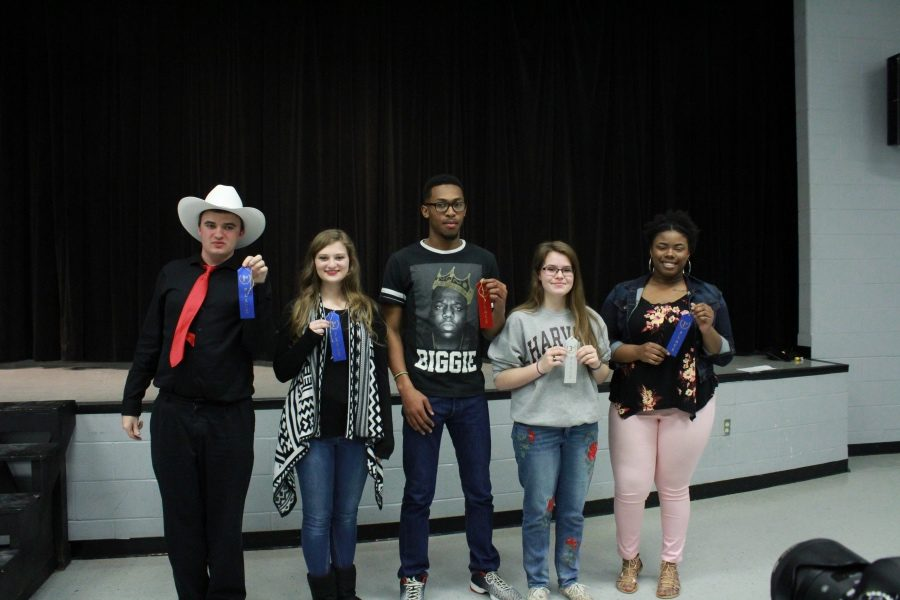 Among the winners at Snapshots and Stanzas were, from left, Jake Lankford, Haley Parker, Tyrance Martin, Amanda Reese and Zakeya Dodson.