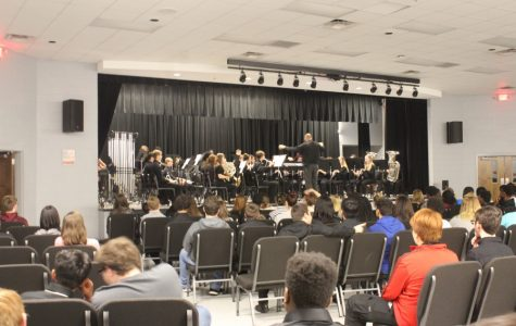 The Wind Ensemble, performing here in the PAC, earned superior and excellent ratings at the state band evaluation April 16.