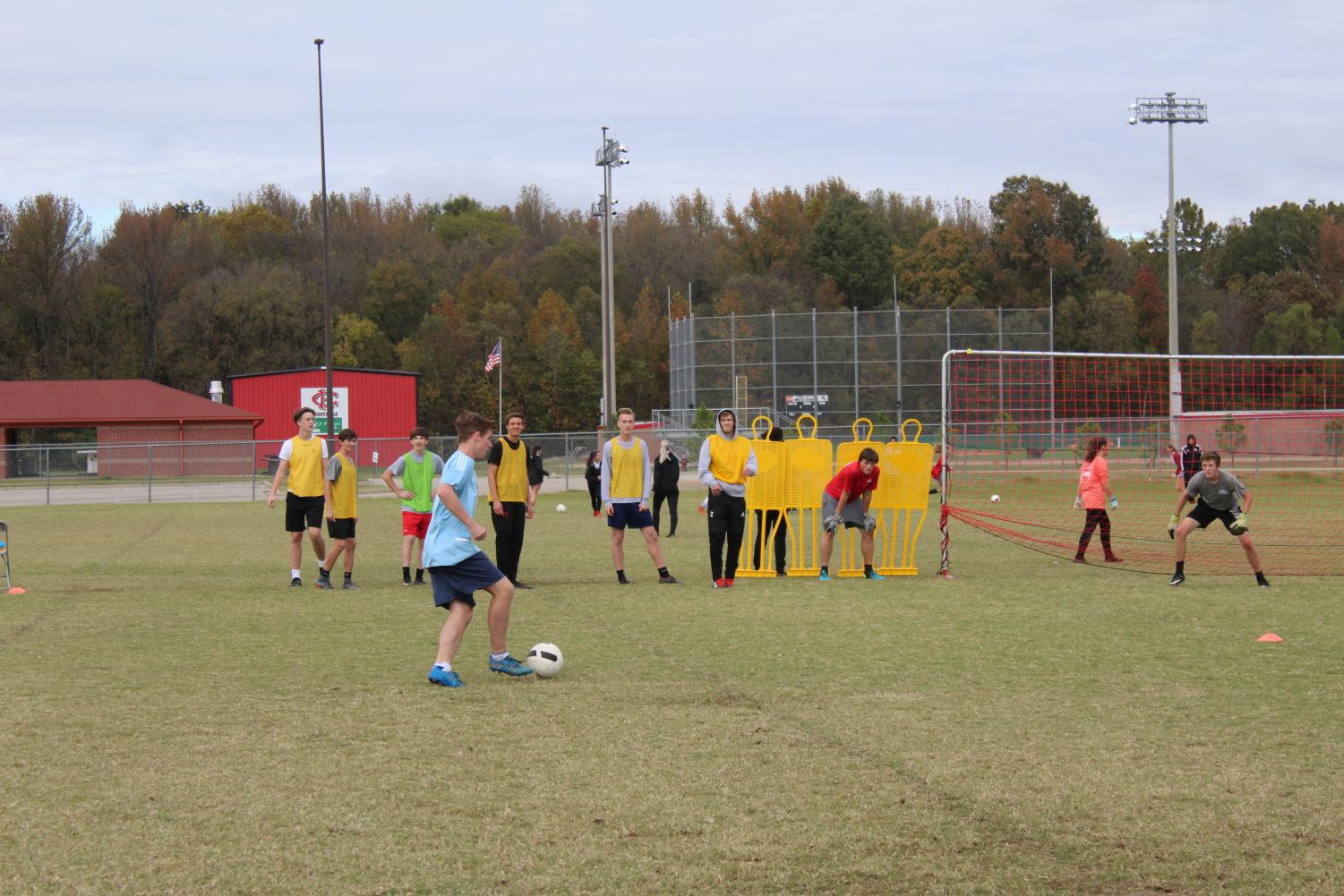 Brayden Hellums (light blue shirt), a center defensive mid, practices with the Center Hill High School boys soccer team. Hellums was chosen to play Feb. 16 in the Mississippi Association of Coaches All-Star soccer game.
