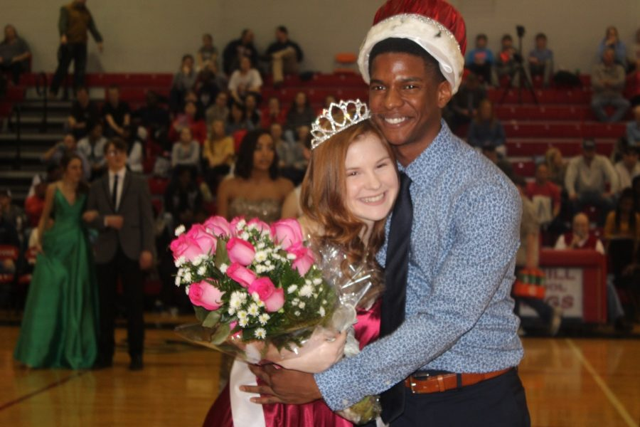 Nichole Herbert and Venquez Smith were crowned Winterfest Queen and King during halftime of the boys basketball game against Lewisburg on Jan. 18.