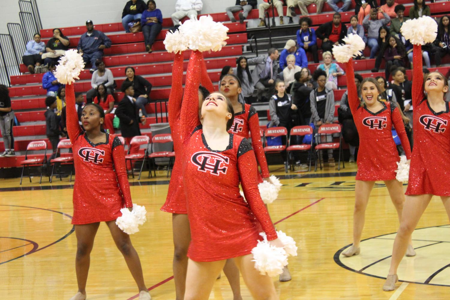 The Center Hill Dance Team, shown here performing at a home basketball game, won double state titles in hip hop and pom and is also ranked 10th in the nation in hip hop.