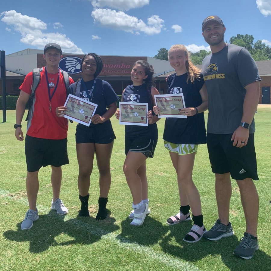The Lady Mustangs soccer team attended summer camp at Itawamba Community College May 28-31. From left are coach Ryan Worsham, All-Star Team members Karmen Smith, Bre Jimenez and Lauren Ballard, and camp coach Dylan Burnett of the University of Southern Mississippi.
