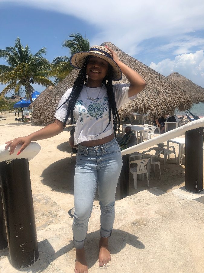 Paris Johnson, pictured on a beach in Cozumel, went on a cruise with her family to Honduras, Belize and Cozumel in July.