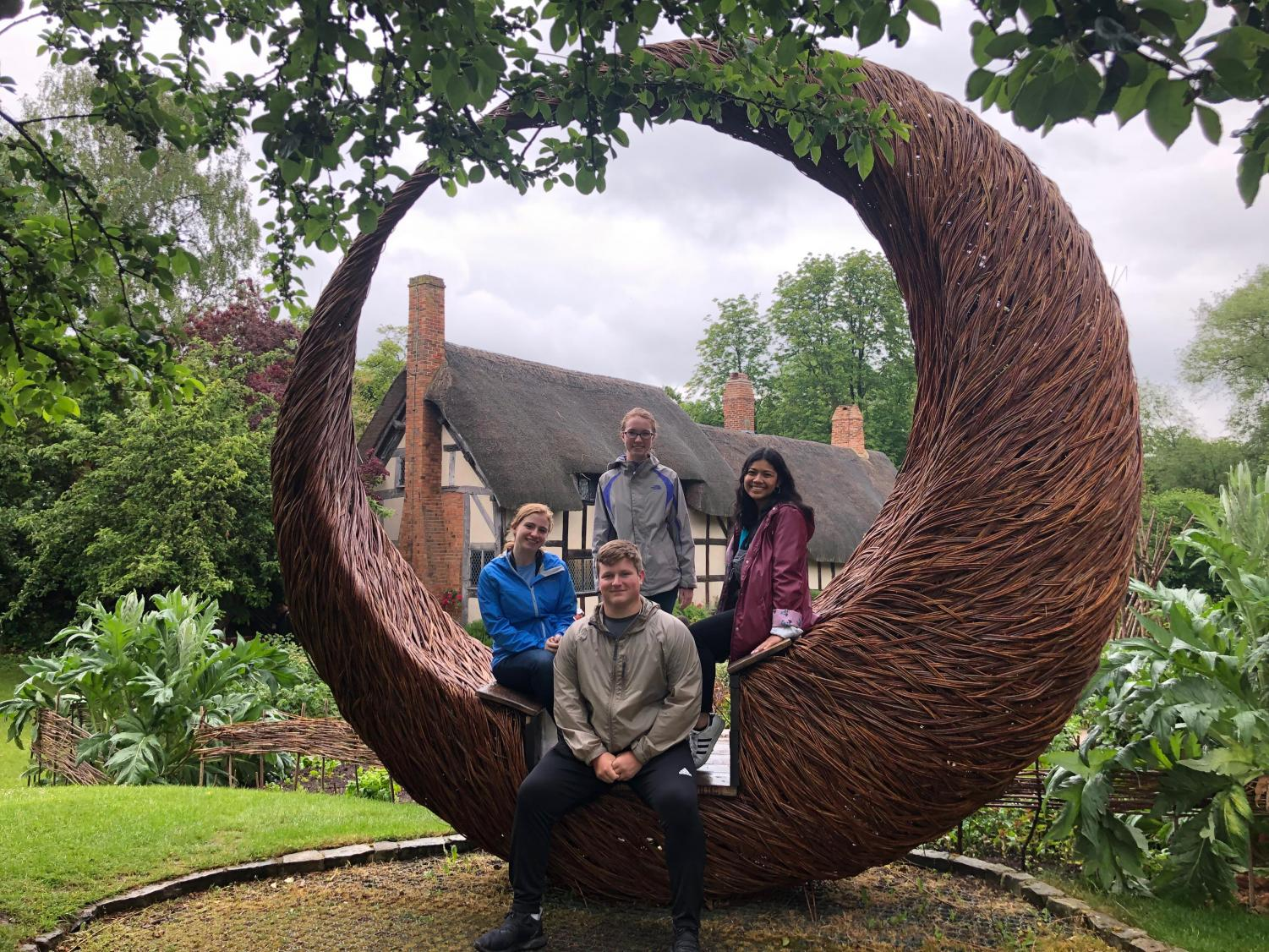 While in England, members of the Explorer's Club visited William Shakespeare's birthplace. Pictured are, from left, Ashley Jenkins, David DuVall, Megan Patterson and Tanika Kounhavong.