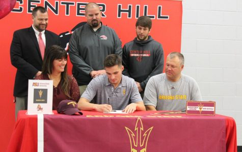 With his parents, coach and school administrators looking on, Taylor Williams officially signed today to swim for Arizona State University. Williams is the first swimmer from Center Hill High School to go to a D1 program.