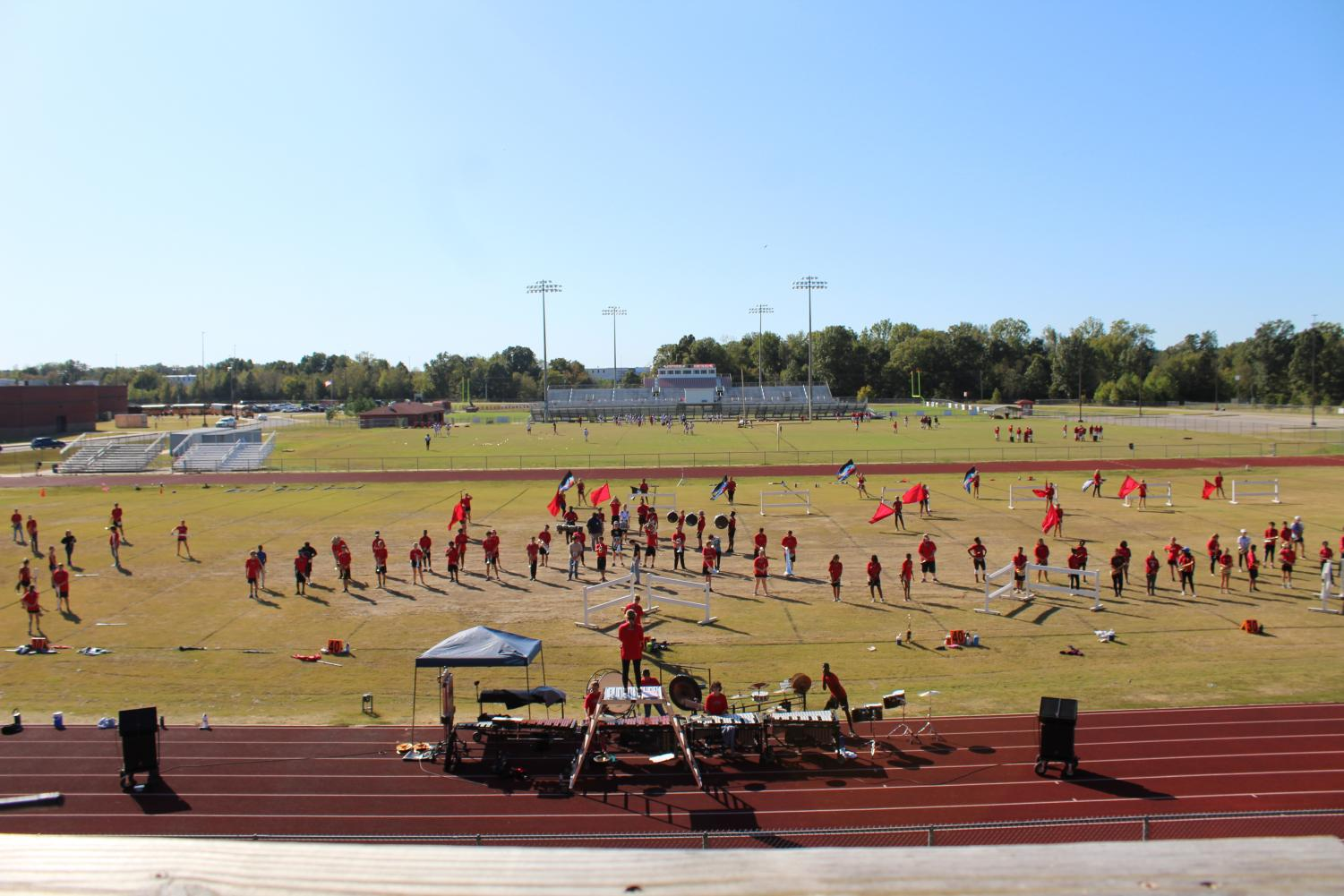 """The marching band, shown here at a practice in October, won a bronze medal at state competition Nov. 2 in Pearl. """"It's our highest ranking in several years since Center Hill has been ranked 5A,"""" band director Jared Ross said."""
