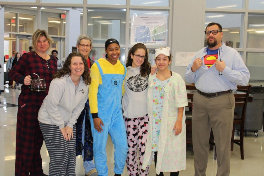 The first dress-up day of Winterfest, Super Hero vs. Super Sleepy, gave students, teachers and administrators the chance to wear pajamas or super hero costumes to school. Principal Doug Payne, far right, dressed as Clark Kent/Superman.