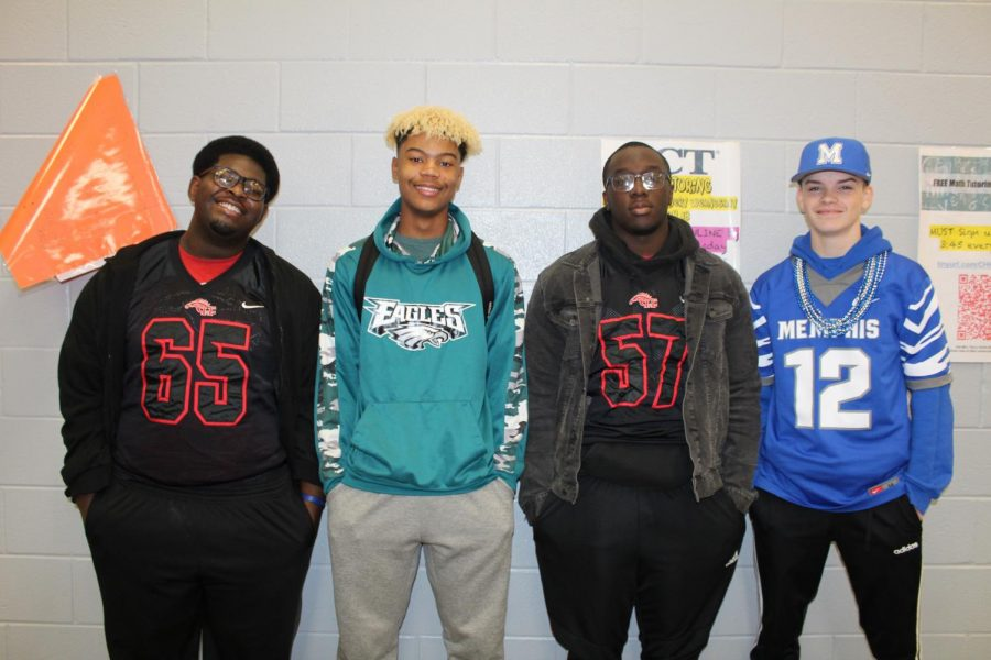 Thursday during Winterfest was Game Wars dress-up day. Students who participated included, from left, junior Lamaurice Ball, sophomore Caleb Brown, junior Jordan Love and junior Jacob Brewer.
