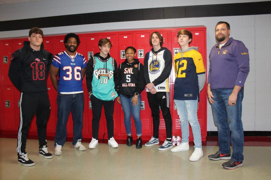 Thursday during Winterfest was Game Wars dress-up day. Students and staff who participated included, from left, junior Bradley Rogers, Coach Bruce Hall, junior Grant McNeer, senior Laila Armstrong, junior Cooper Haney, sophomore Trent Rosson and Principal Doug Payne.
