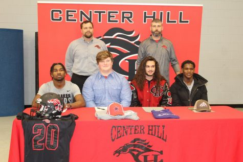 "Five Mustangs signed Feb. 5 to play college football. It was the most athletes to sign at once in school history. At a morning ceremony in the PAC, center David DuVall and cornerback Javarrius Shipp signed with Northwest Mississippi Community College, safety Jacquez Hardin signed with Coahoma Community College, and outside linebacker Jared Rayo signed with Millsaps College. At 4:30 that afternoon, left tackle James ""Big James"" Mitchell also signed with Northwest."
