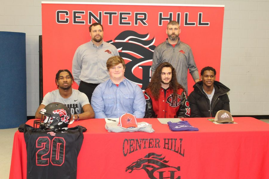 Five+Mustangs+signed+Feb.+5+to+play+college+football.+It+was+the+most+athletes+to+sign+at+once+in+school+history.+At+a+morning+ceremony+in+the+PAC%2C+center+David+DuVall+and+cornerback+Javarrius+Shipp+signed+with+Northwest+Mississippi+Community+College%2C+safety+Jacquez+Hardin+signed+with+Coahoma+Community+College%2C+and+outside+linebacker+Jared+Rayo+signed+with+Millsaps+College.+At+4%3A30+that+afternoon%2C+left+tackle+James+%E2%80%9CBig+James%E2%80%9D+Mitchell+also+signed+with+Northwest.