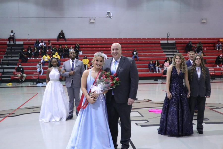 Kenzie Sandridge was crowned Homecoming Queen during halftime of the boys basketball game against Covington on Nov. 20, nearly a month after the original football Homecoming festivities were canceled because of COVID-19.