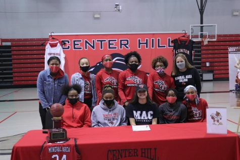 Hope Mealer, a shooting guard for the Lady Mustangs, will play for the Lady Cards at Mineral Area College next year. Mealer, who had multiple offers, signed with MAC today in the CHHS gym.