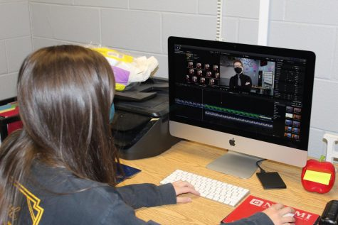 "Drama teacher Emily Haven uses Final Cut Pro X to edit Piercen French's scene from ""Cheaters,"" which her students will present in three live-streamed performances Dec. 4-6. Tickets for each virtual performance are $8.05."